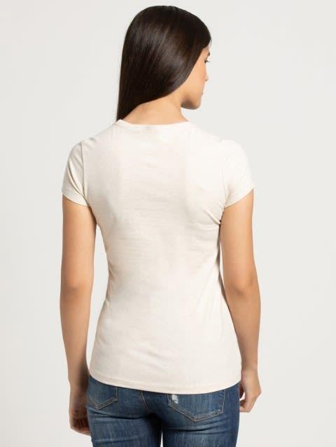 Cream Melange Crew Neck Graphic T-shirt