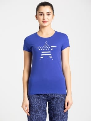 Indigo Crush Crew Neck Graphic T-shirt