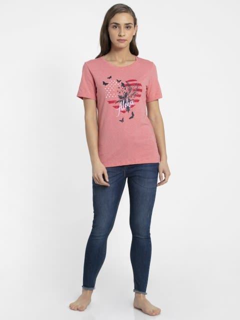Passion Red Melange Crew Neck Graphic T-shirt