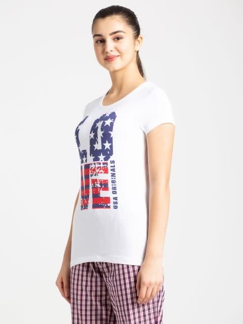 White Crew Neck Graphic T-shirt