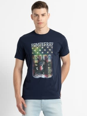 Navy Crew neck Graphic1 T-shirt
