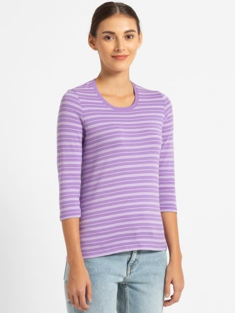 Paisley Purple & Pastel Yarn Dyed Stripe 3/4 Sleeve T-Shirt