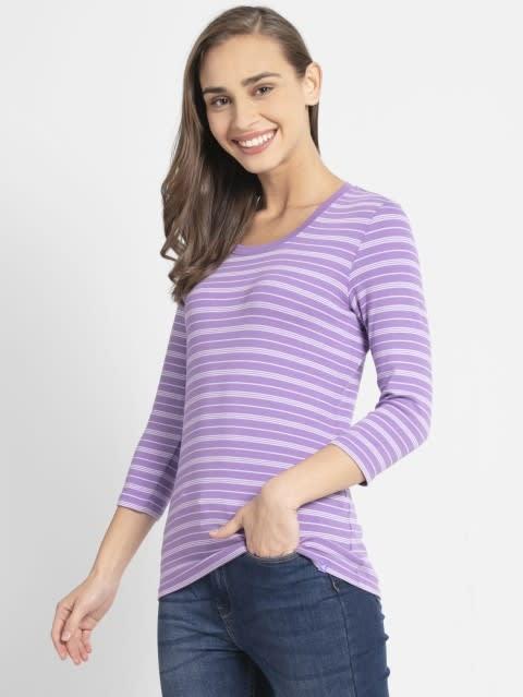 Paisley Purple & Pastel Yarn Dyed Stripe 3/4 Sleeve T-Shirt