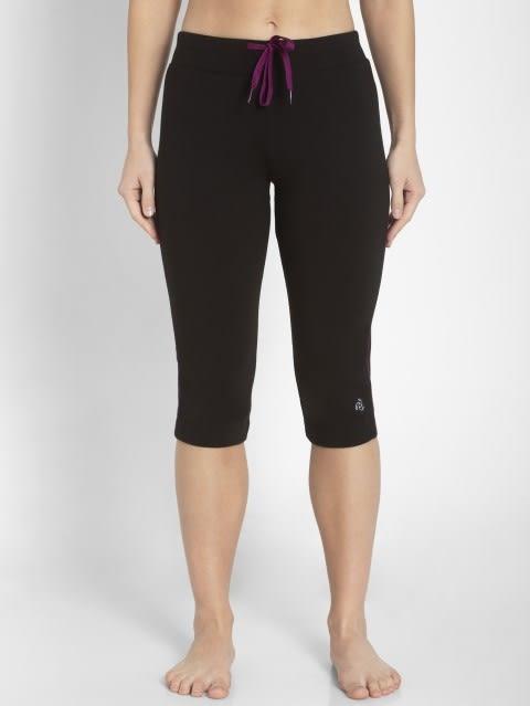 Black & Gloxinia Knit Capri