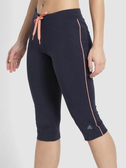 Navy Blazer & Coral Knit Capri