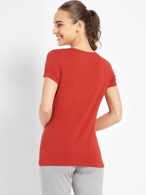 Red Wood Round Neck T-Shirt
