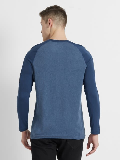 Insigna Blue Melange Henley Long Sleeve T-Shirt