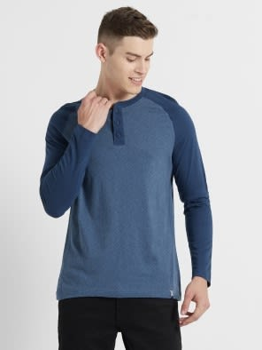 Insigna Blue Melange Henley Long Sleeve T-Shirt