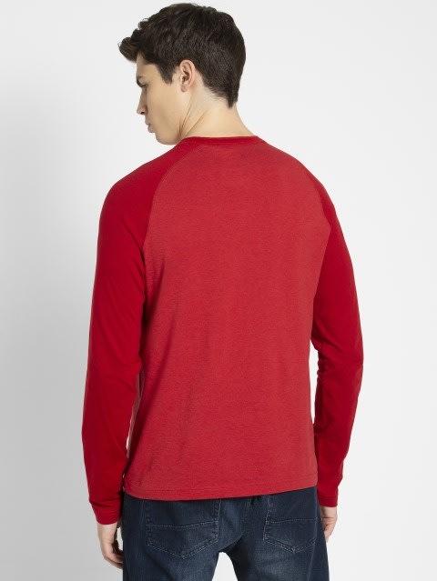 Shanghai Red Melange Henley Long Sleeve T-Shirt