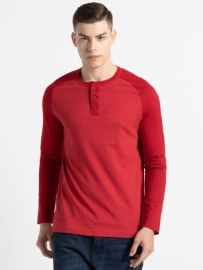 Shanghai Red Melange Henley Long Sleeve T-Shirt