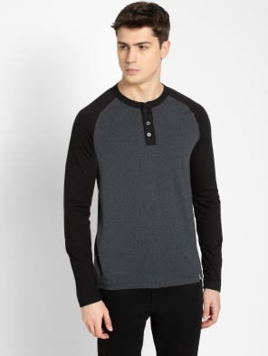 True Black Melange Henley Long Sleeve T-Shirt