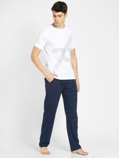 Navy Snow Melange Slim Fit Track Pant