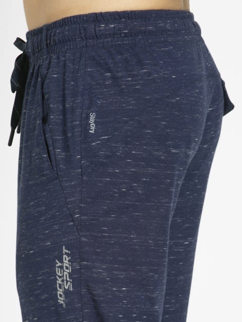 Navy Snow Melange Slim Fit Track Pant