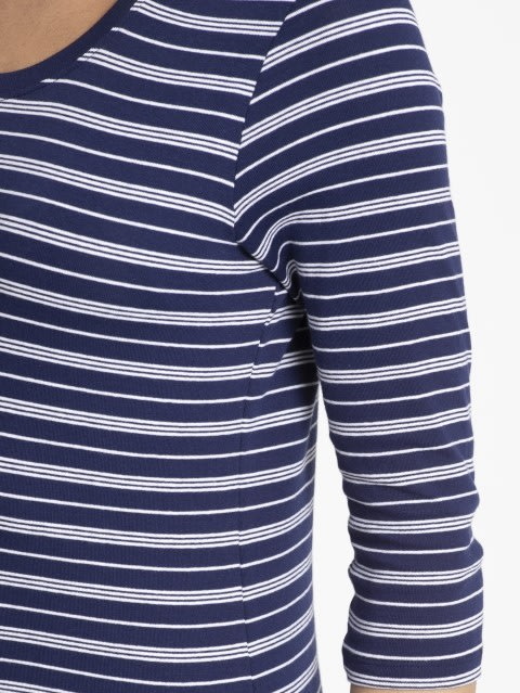 Imperial Blue & White Yarn Dyed Stripe 3/4 Sleeve T-Shirt
