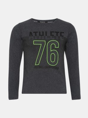 True Black Melange Boys Long Sleeve T-Shirt