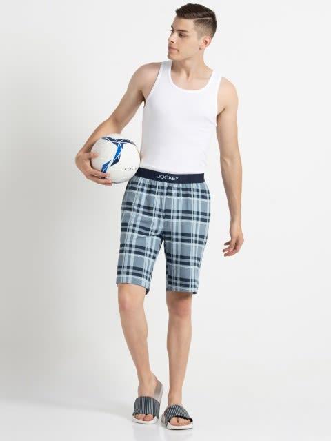 Light Blue Print2 Regular Fit Shorts