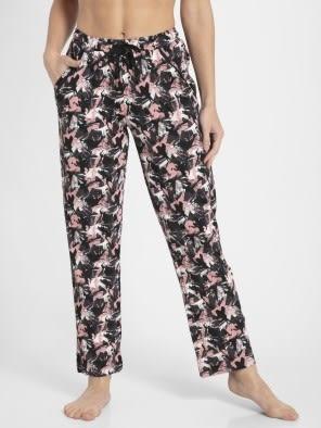 Black Assorted Prints Knit Lounge Pants