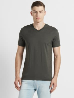 Deep Olive V-Neck T-Shirt