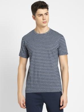 Performance Navy & Iris Blue Crew neck T-shirt