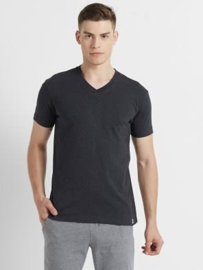 Black Melange V-Neck T-shirt
