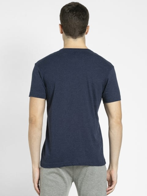 Ink Blue Melange V-Neck T-shirt