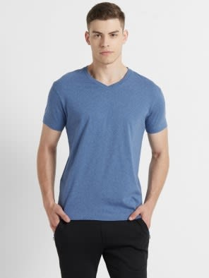 Light Denim Melange V-Neck T-shirt