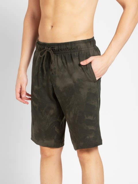 Deep Olive Print Straight fit shorts