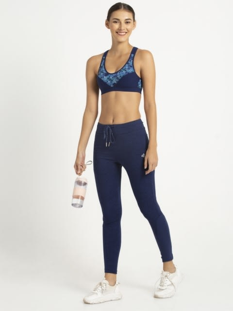 Imperial Blue Assorted Print2 Racer back Padded Active Bra