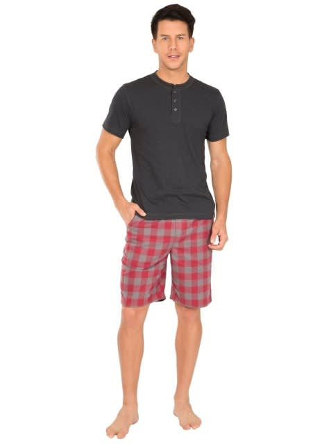 Red & Charcoal Woven Bermuda
