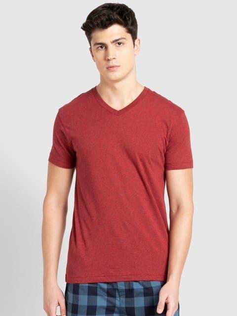 Red Melange V-Neck T-shirt