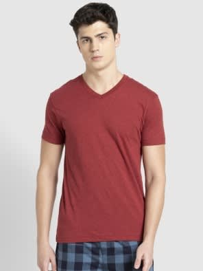Red Melange V-Neck T-shirt