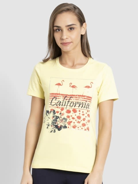 Popcorn Yellow Crew Neck Graphic T-shirt