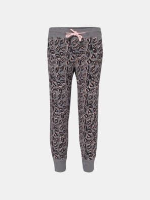 Mid Grey Melange Printed Girls Leggings