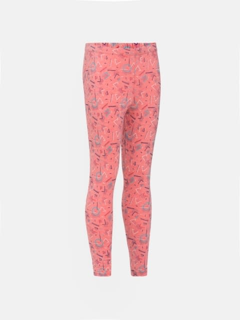 Passion Red Melange Printed Leggings