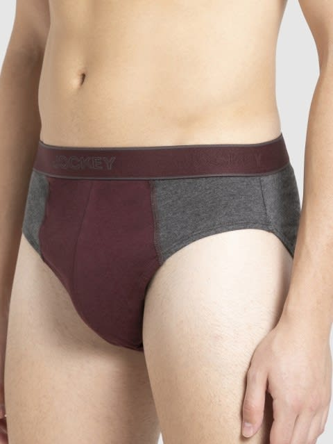 Charcoal & Mauve Wine Fusion Brief Pack of 2