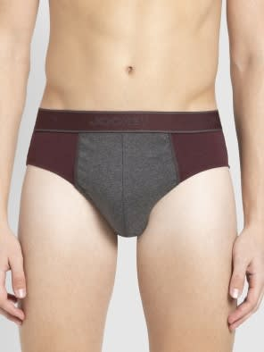 Mauve Wine & Charcoal Melange Fusion Brief Pack of 2
