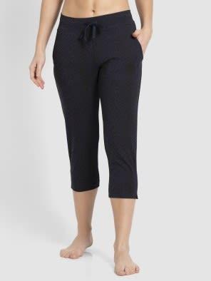 Navy Blazer Printed Capri Pants