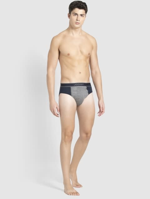 Navy & Mid Grey Melange Fusion Brief Pack of 2