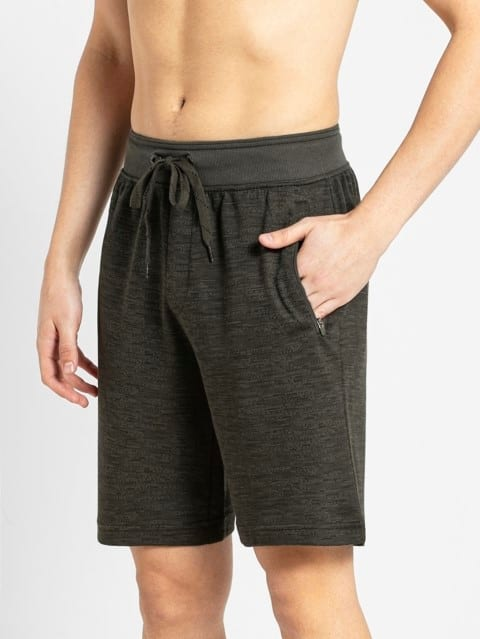 Deep Olive Printed Straight fit Shorts