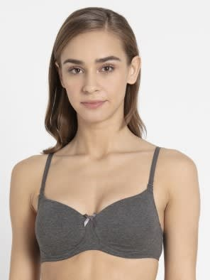 Charcoal Melange Non-Wired Padded Bra