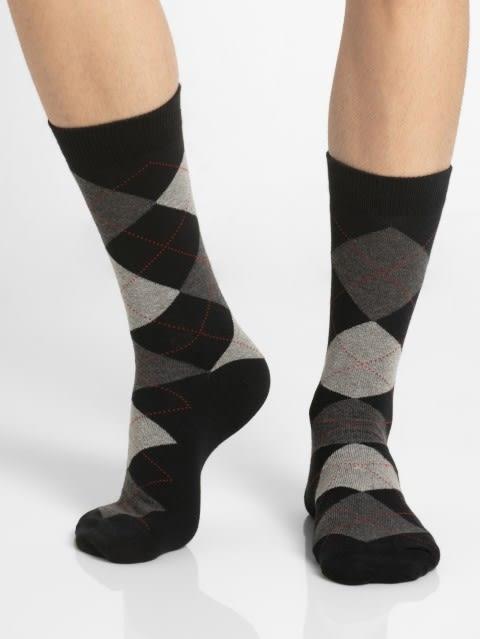 Black - Angle Motif Men Calf Length Socks