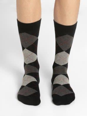 Black - Angle Motif Men Casual Socks