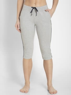Light Grey Melange Knit Capri