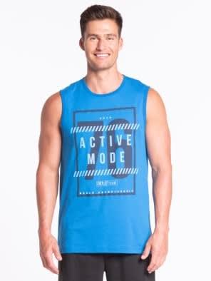 Neon Blue Printed Muscle Tee