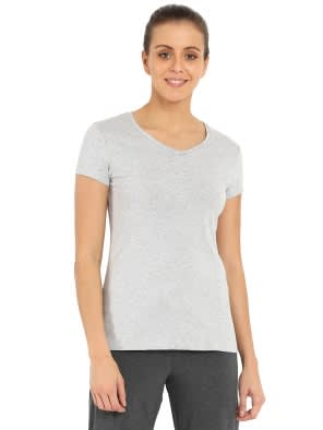 Light Grey Melange V-neck Tee