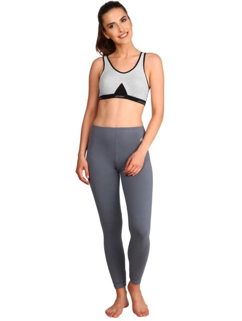 Light Grey Melange Slip On Active Bra