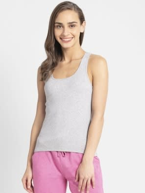 Light Grey Melange Racerback Tank Top