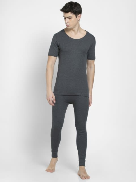 Charcoal Melange Thermal Short Sleeve Vest