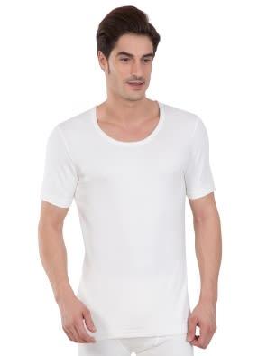 Off White Thermal Short Sleeve Vest