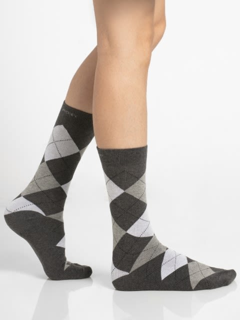 Charcoal Melange - Half Boy Men Calf Length Socks